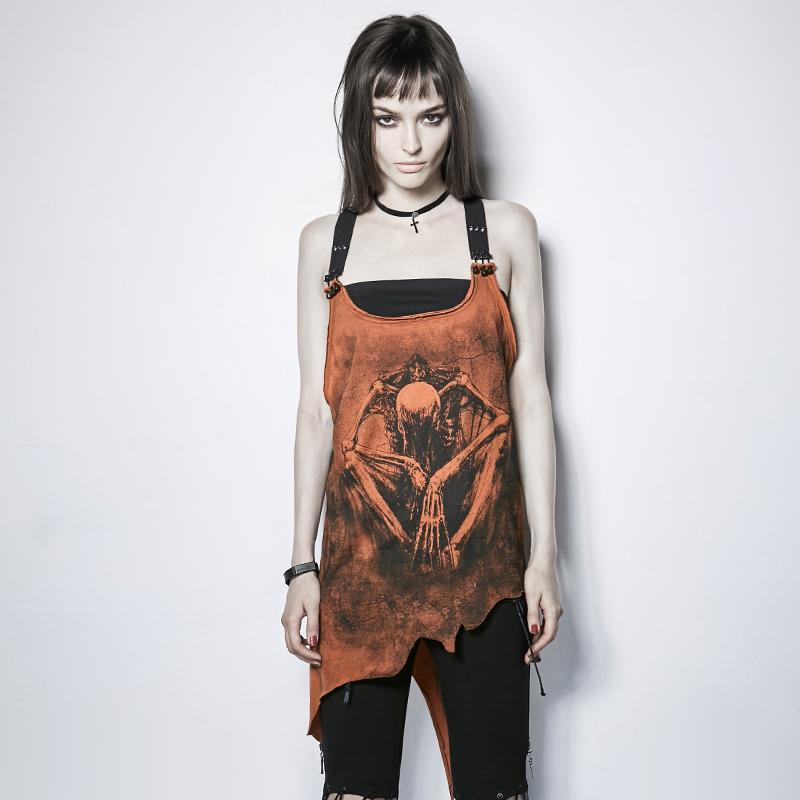 Cool Punk Orange Monster Print Tee - The Black Ravens