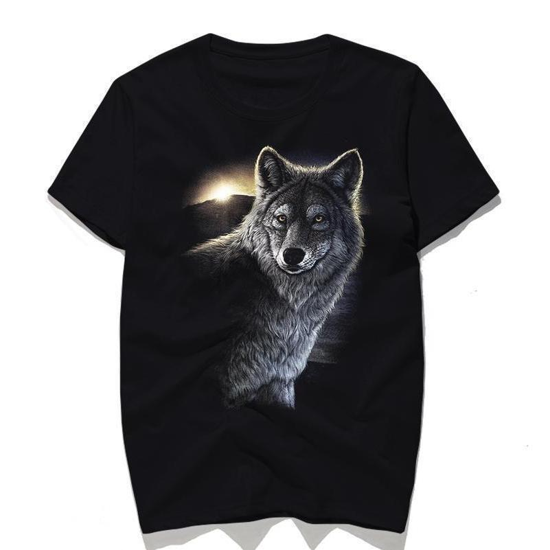 Cool Realistic Wolf Men's T-Shirt-Black-S-