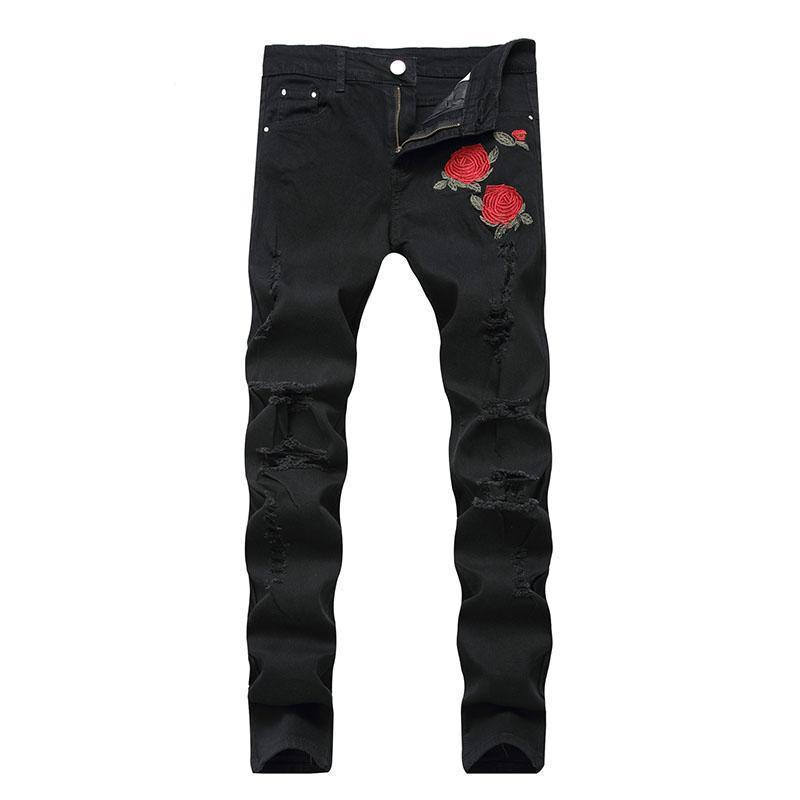 Cool Red Rose Floral Rocker Jeans-Black-28-