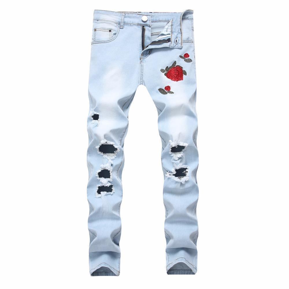 Cool Red Rose Floral Rocker Jeans-Sky Blue-28-