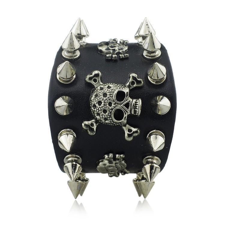 Cool Rocker Spike Rivet Wide Cuff Leather Bracelet - The Black Ravens