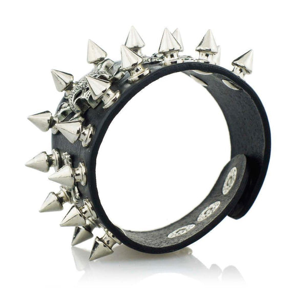Cool Rocker Spike Rivet Wide Cuff Leather Bracelet-