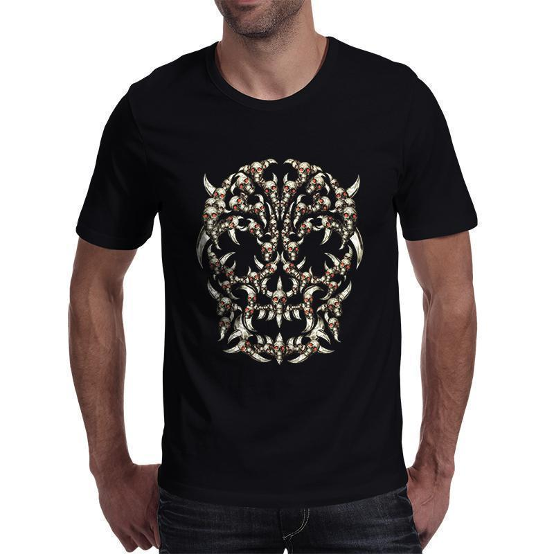 Cool Short Sleeved Horned Skull Print T Shirt-Black-S-
