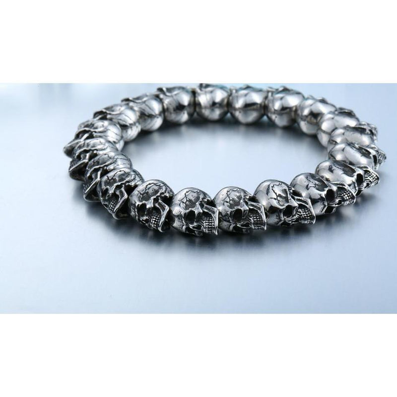 Cool Silver Bracelets Of Skulls - The Black Ravens