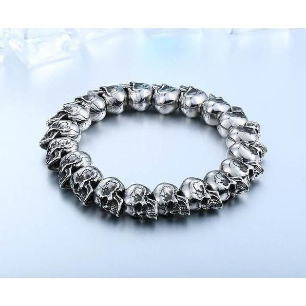 Cool Silver Bracelets Of Skulls-Big Size 21Cm-