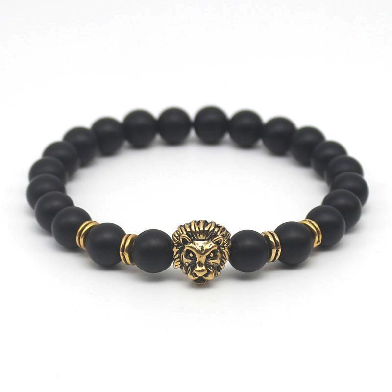 Cool Silver & Gold Black Bead Lion Charm Cuffs-Gold Plated Rhodium-