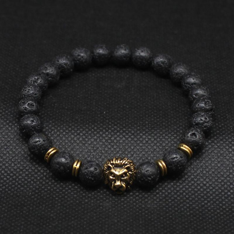 Cool Silver & Gold Black Bead Lion Charm Cuffs - The Black Ravens