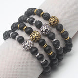 Cool Silver & Gold Black Bead Lion Charm Cuffs-Lava Gold-
