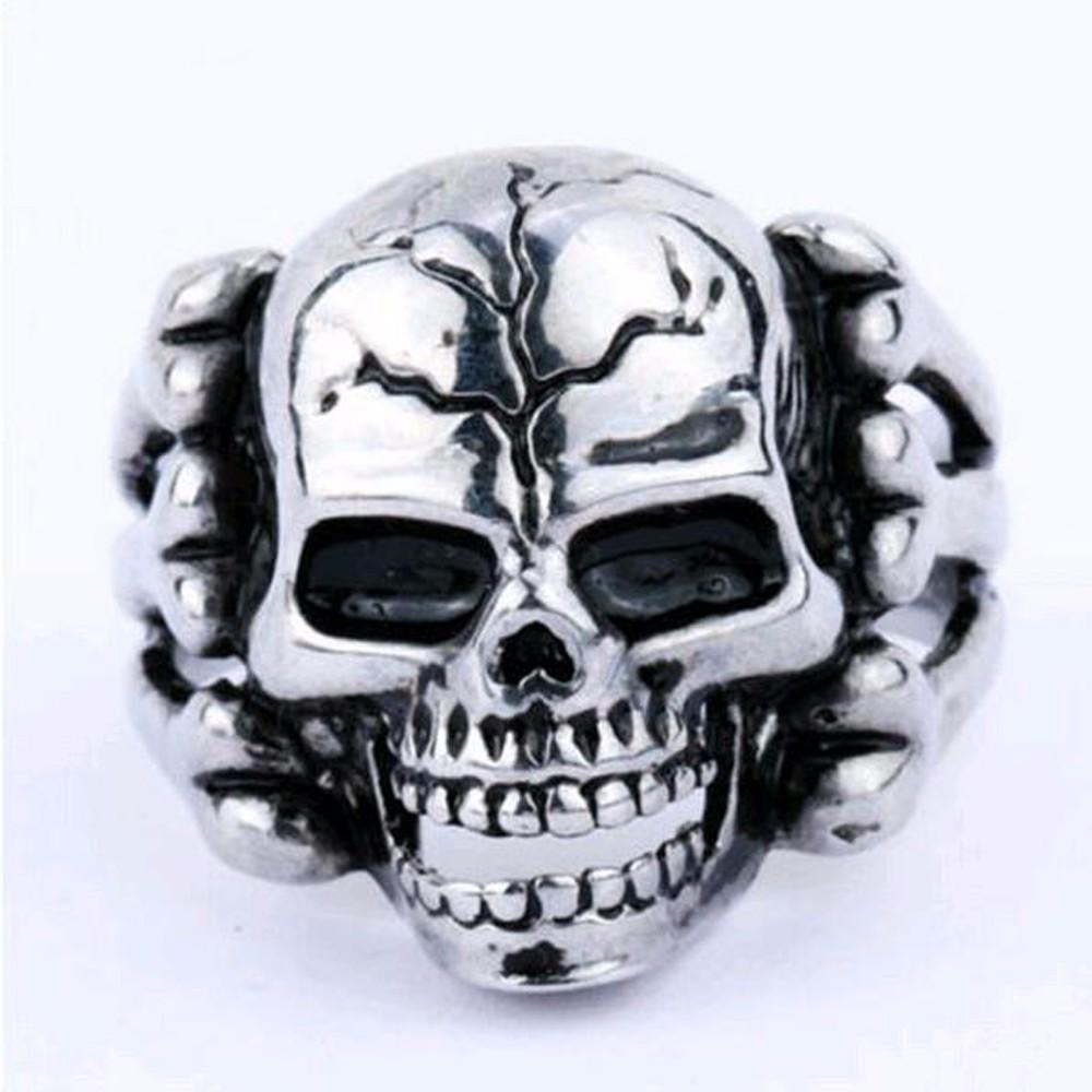 Cool Silver Plated Guys Skeleton Rings-8-