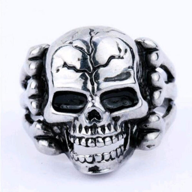 Cool Silver Plated Guys Skeleton Rings - The Black Ravens