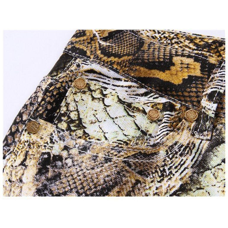 Cool Snakeskin Printed Slim Fit Jeans - The Black Ravens