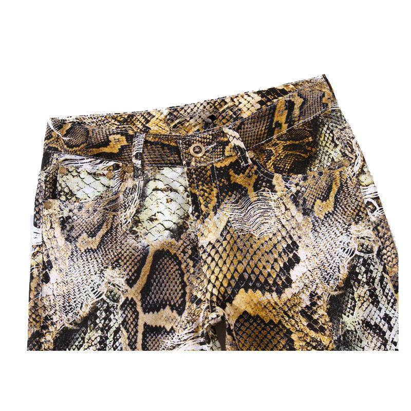 Cool Snakeskin Printed Slim Fit Jeans-Brown-29-