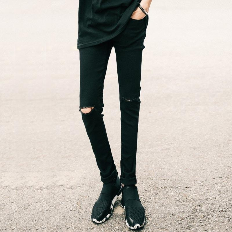 Cool Solid Pencil Knee Hole Jeans - The Black Ravens