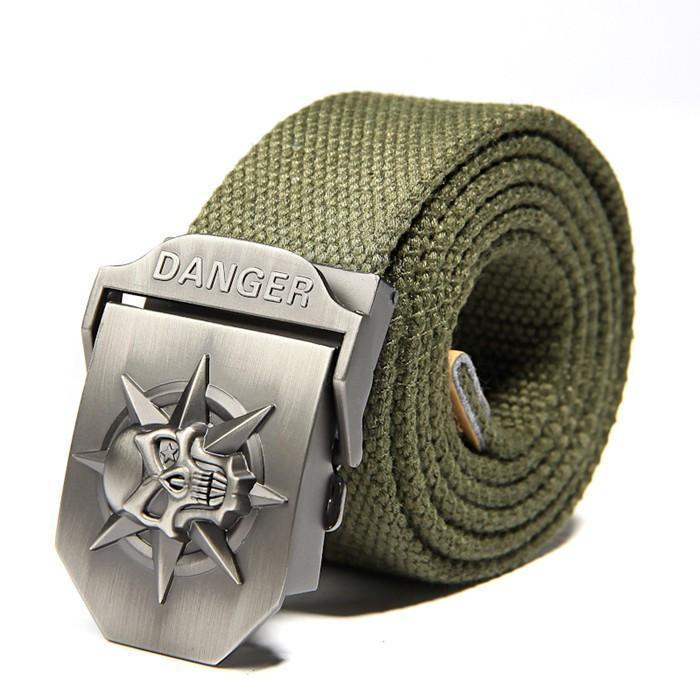 Cool Stainless Skulls Buckle For Guys-Army Green-100Cm-