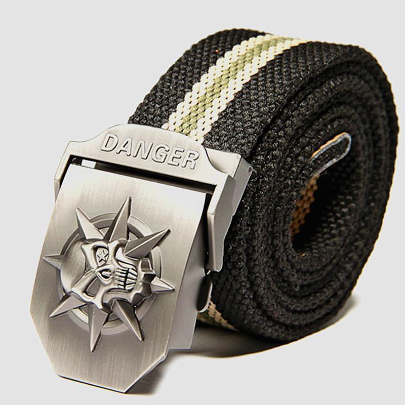 Cool Stainless Skulls Buckle For Guys-Black Stripe-100Cm-