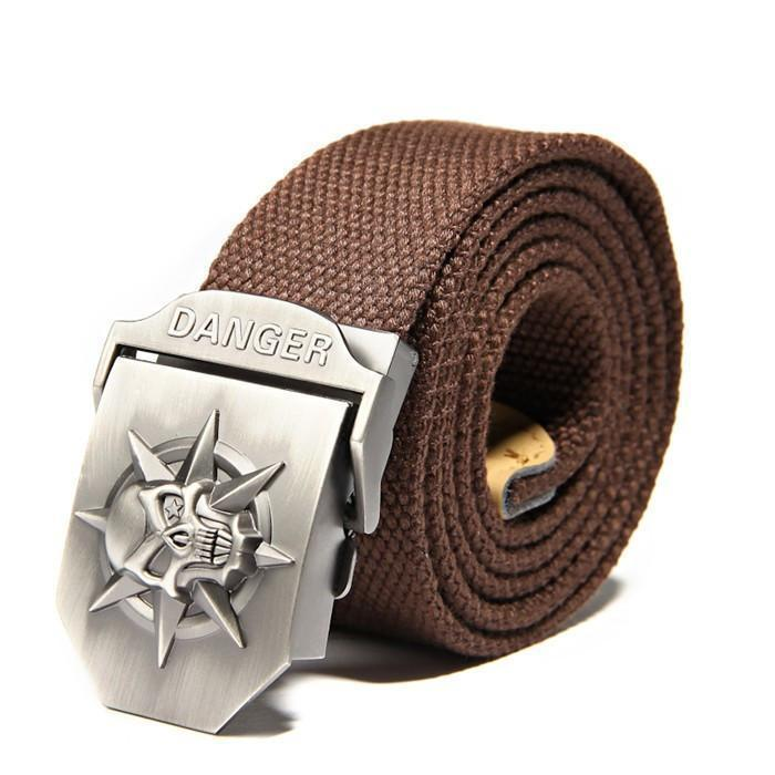 Cool Stainless Skulls Buckle For Guys-Brown-100Cm-