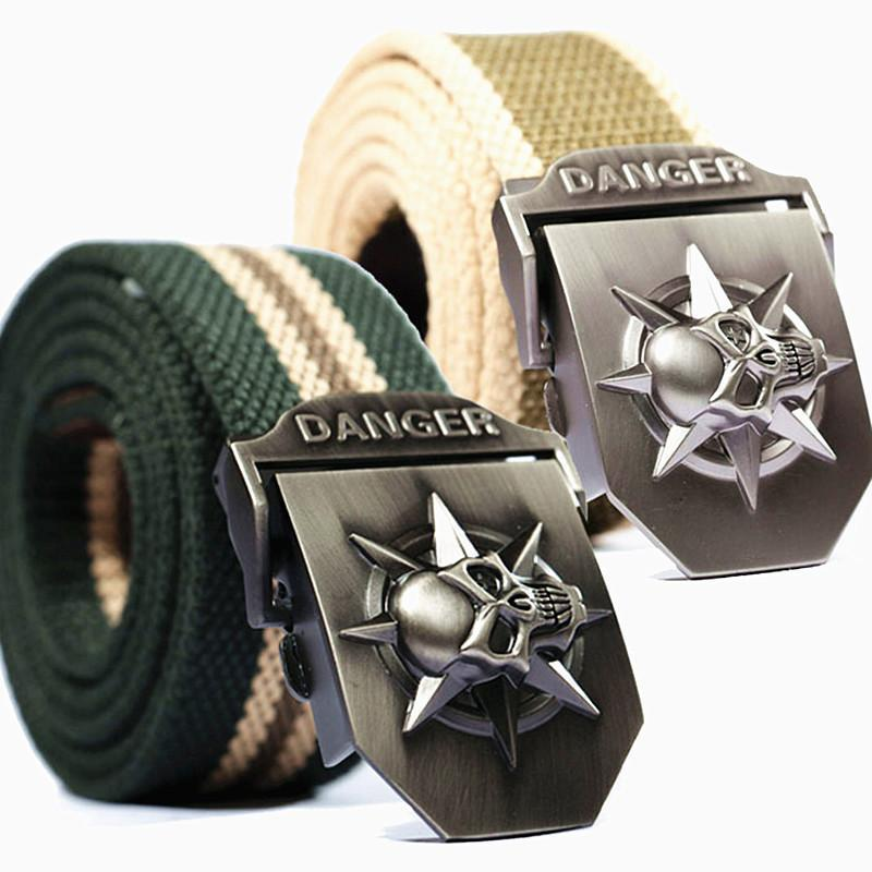 Cool Stainless Skulls Buckle For Guys-Green Stripe-100Cm-
