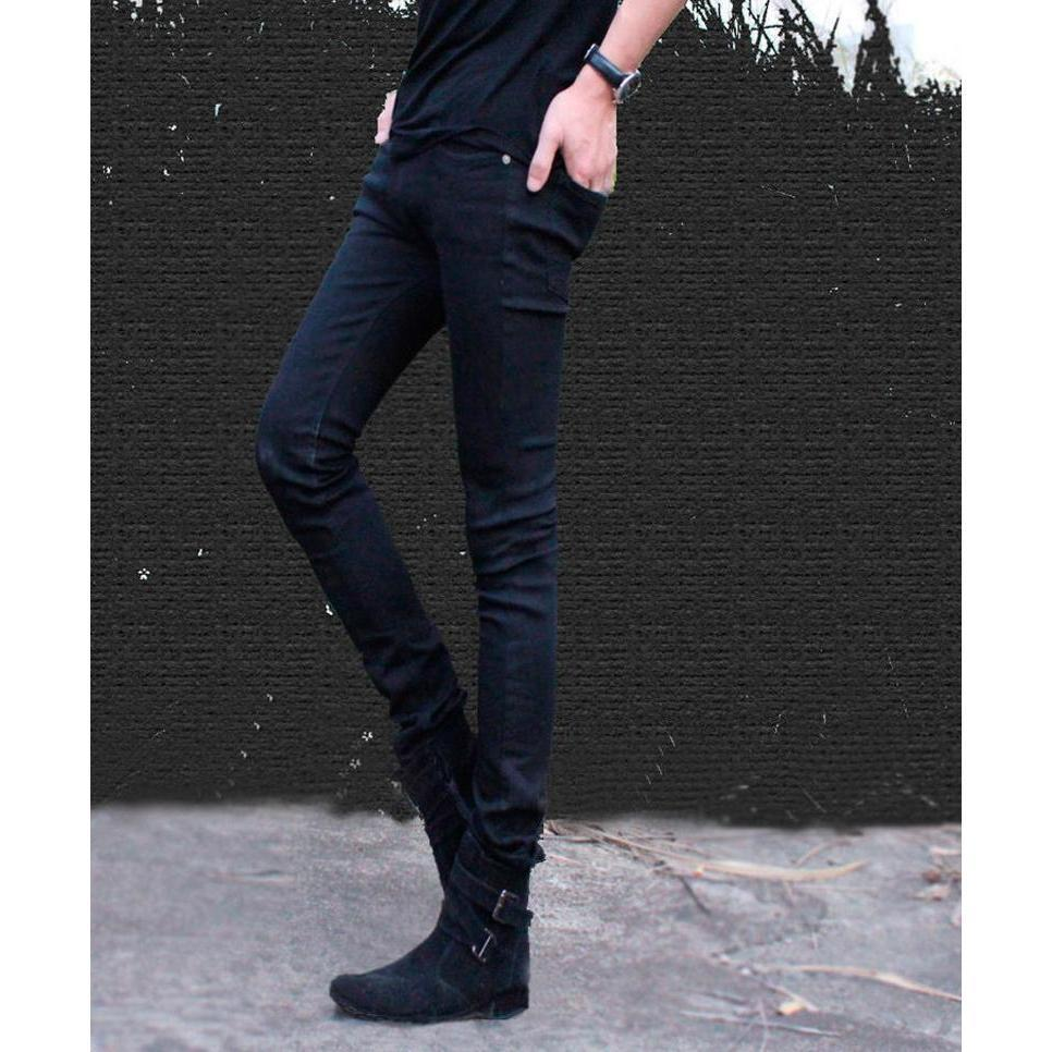 Cool Super Skinny Solid Black Elastic Long Jean Trousers-Black-25-