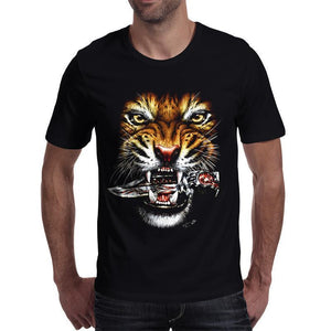 Cool Tiger Printed Short Sleeve Top For Men-Black-S-