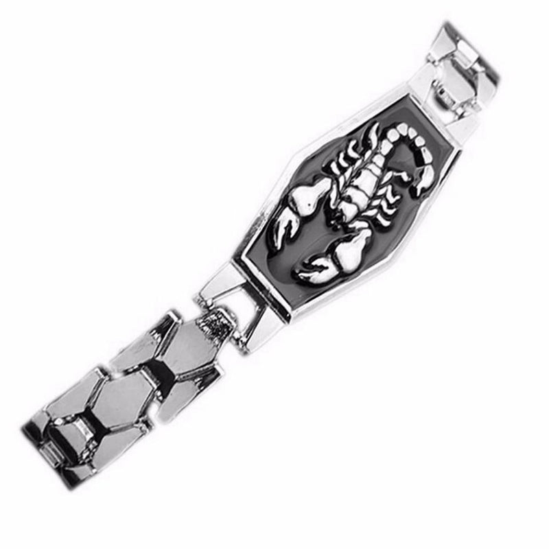 Unisex Cool Punk Skeleton Hand Genuine Leather Wristband