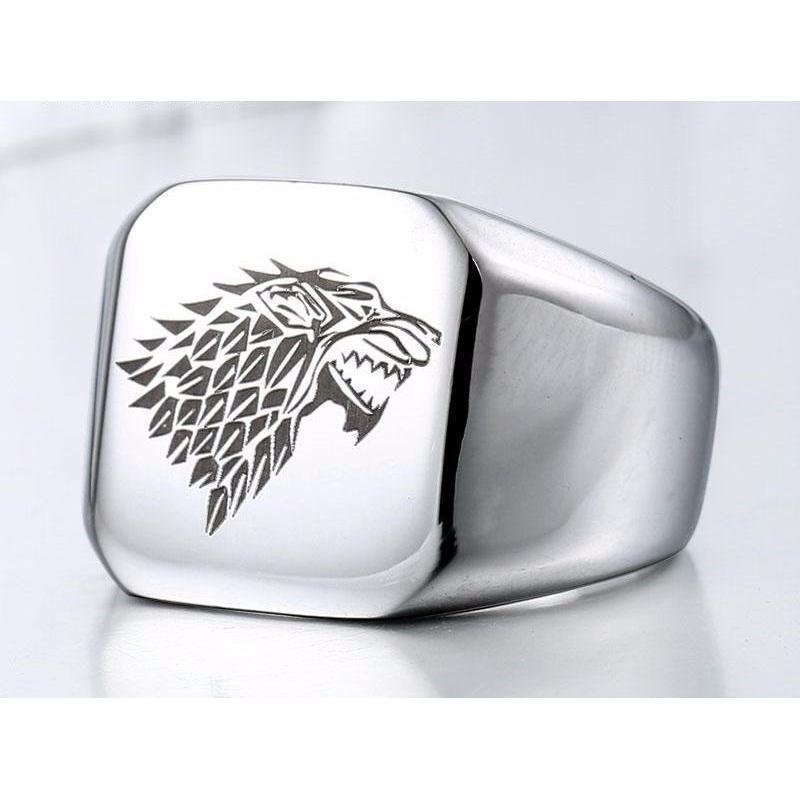 Cool Unisex House Stark GOT Rings-7-Black-