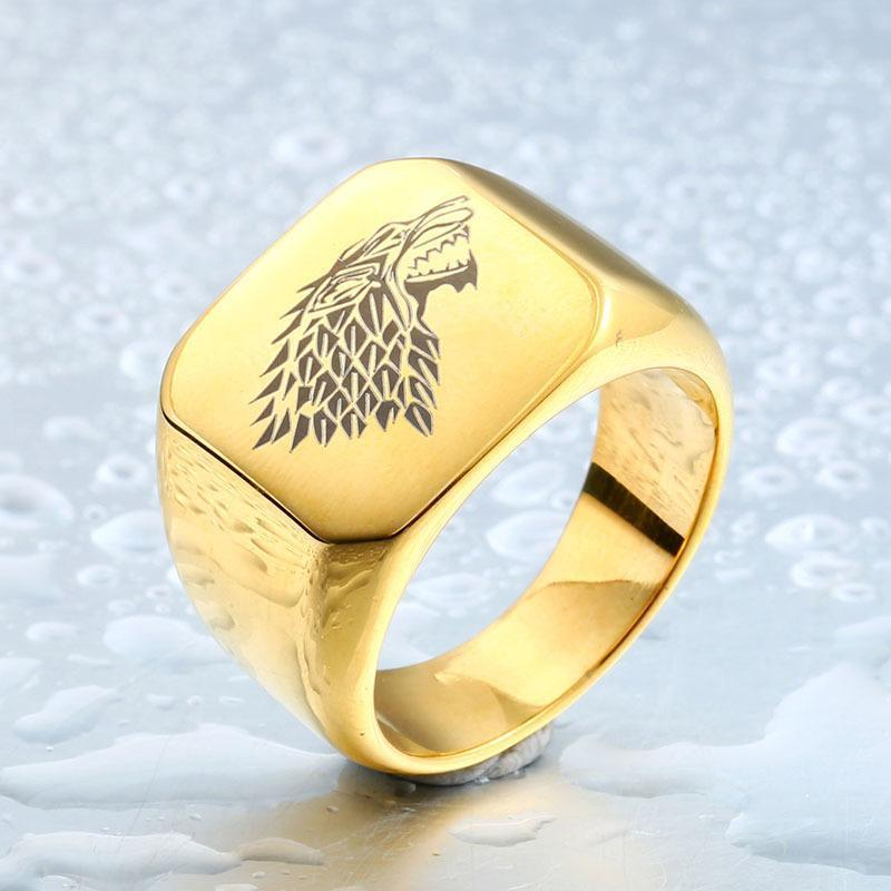 Cool Unisex House Stark GOT Rings-7-Gold-