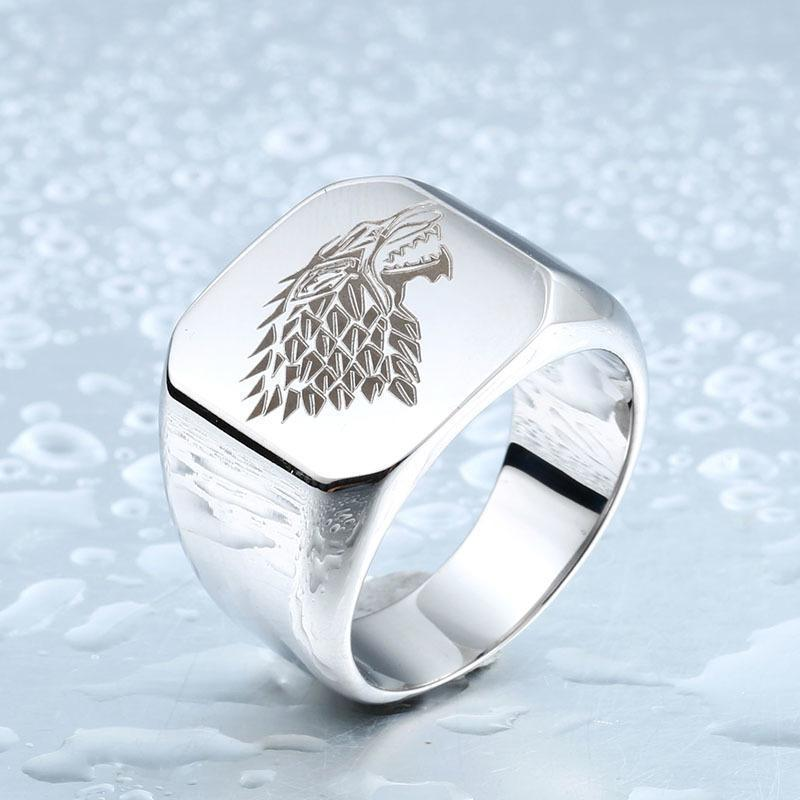 Cool Unisex House Stark GOT Rings-7-Silver-
