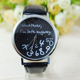 Cool Unisex 'I'm Late Anyway' Alternative Quirky Watches-Black-