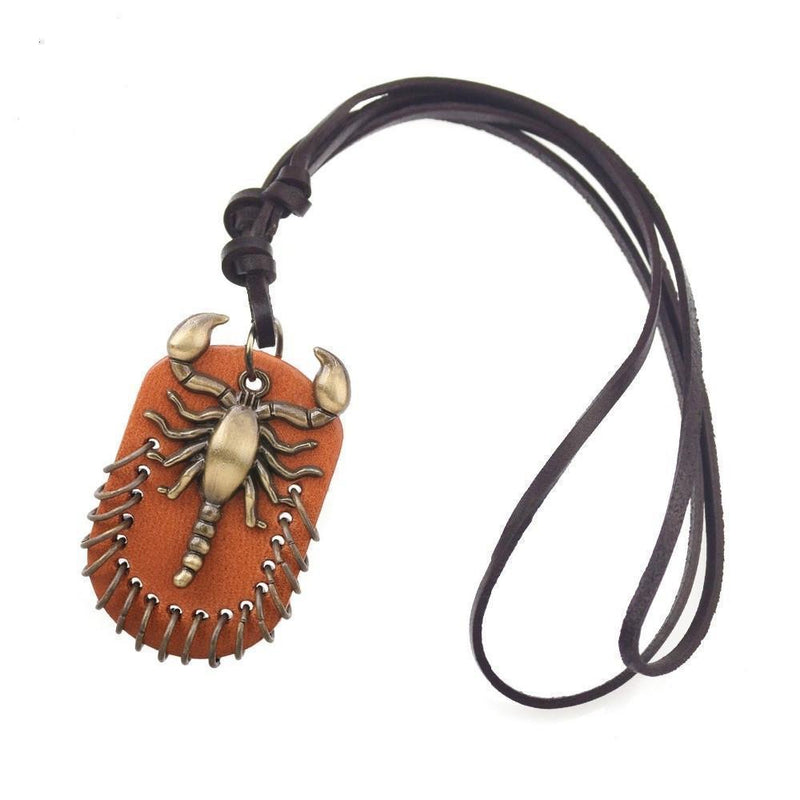 Cool Unisex Scorpio Brown Genuine Leather Pendant-
