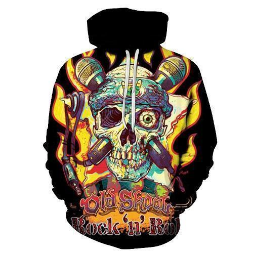 Crazy Colorful Rock And Roll Hooded Jacket-Black-Xs-