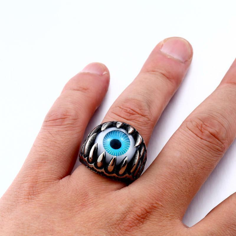 Crazy Silver Jaw And Eyes Ring For Bikers-7-Blue-