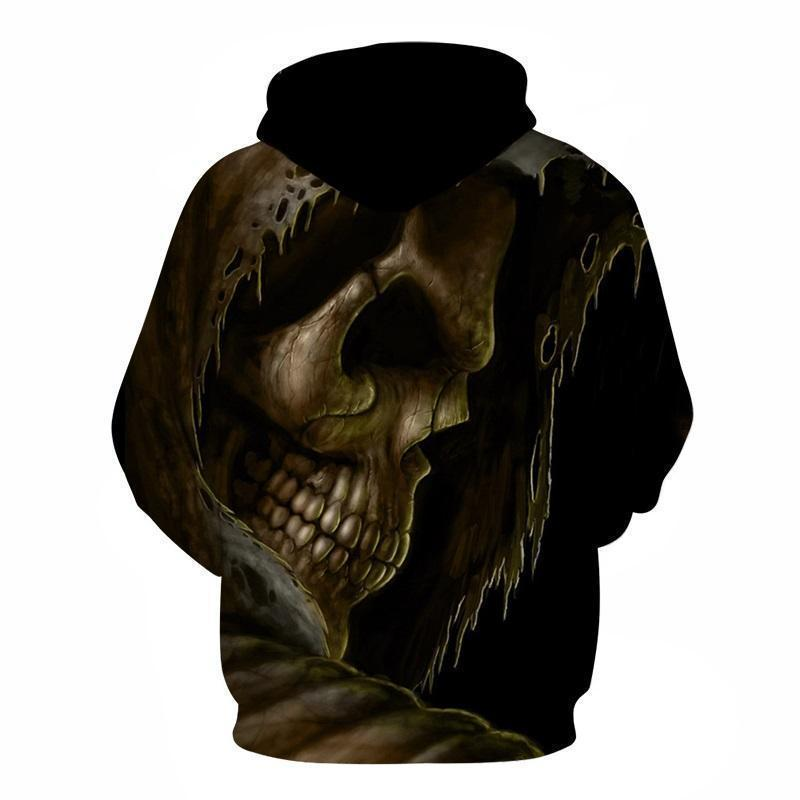Creepy 3D Melted Skull Casual Pullover Hoodie - The Black Ravens