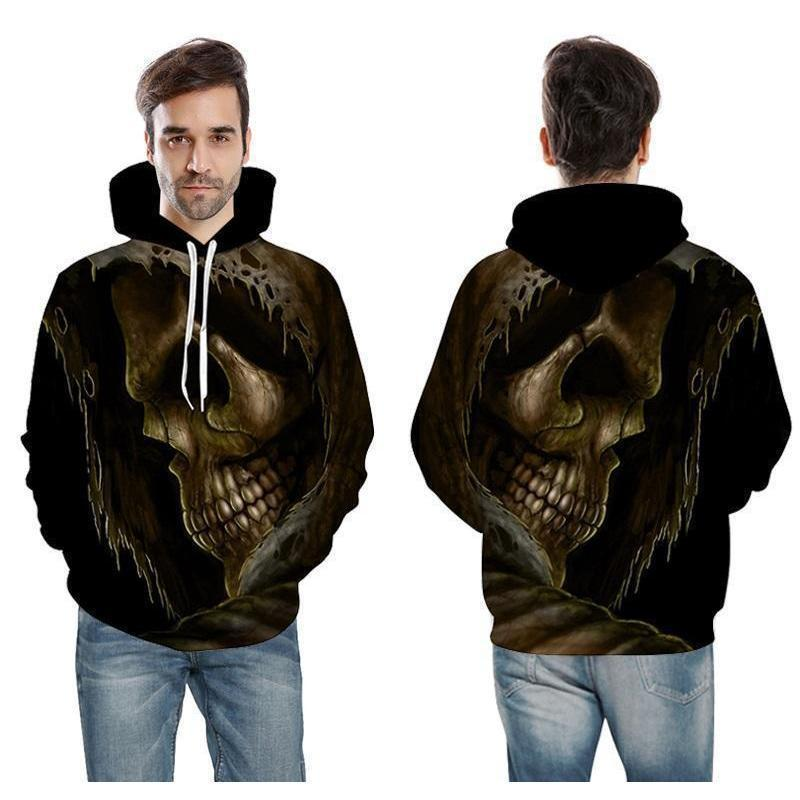Creepy 3D Melted Skull Casual Pullover Hoodie-Black-XXS-