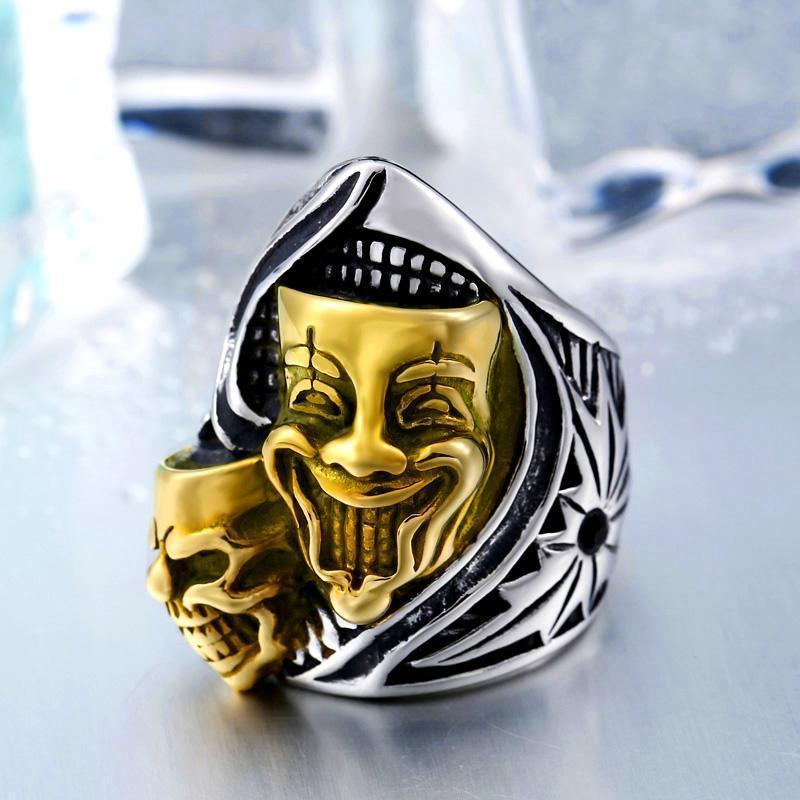 Creepy Joker Clown Face Biker Bands-11-Gold-