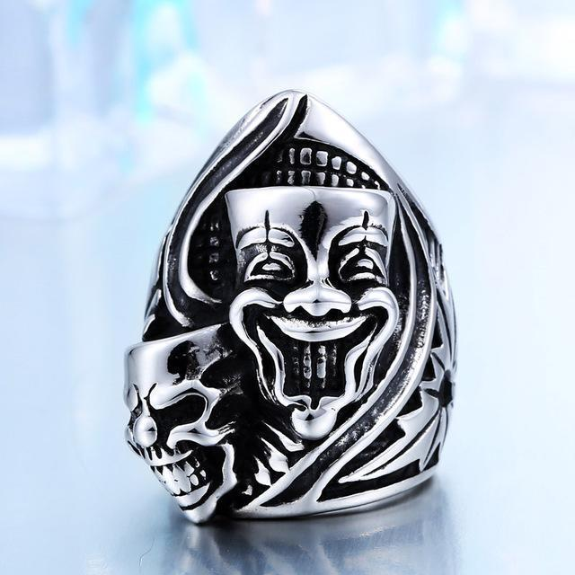 Creepy Joker Clown Face Biker Bands-11-Silver-