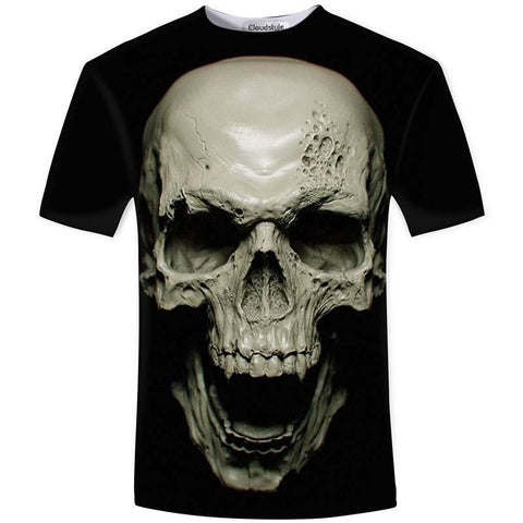 Creepy Skulls Horror Tops For Men-XS-