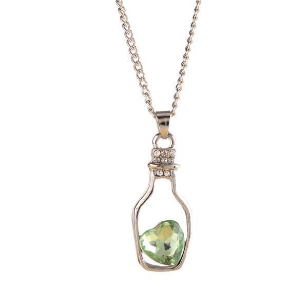 Crystal Bottle Chain For Women-Green-