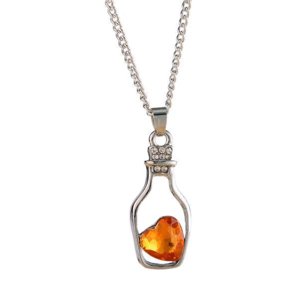 Crystal Bottle Chain For Women-Orange-