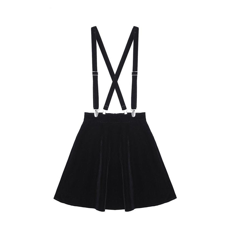Cute Black A-Line Lolita Strap Mini Skirt - The Black Ravens