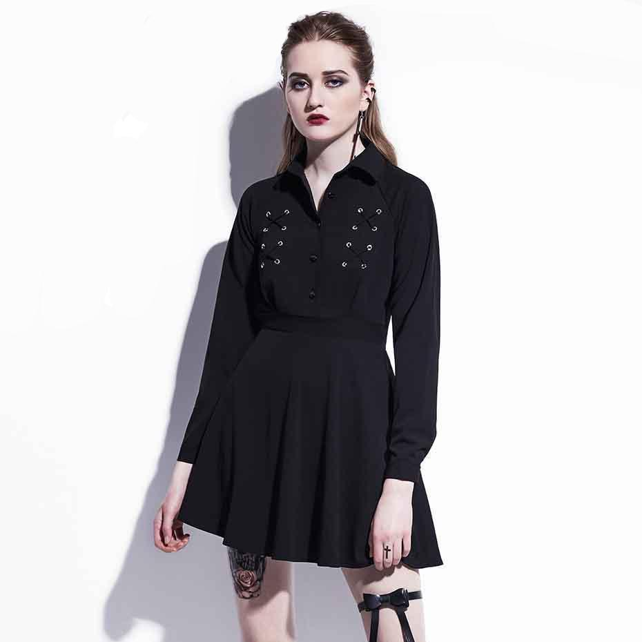 Cute Black Button Emo Mini Dress - The Black Ravens