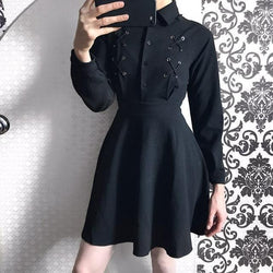 Cute Black Button Emo Mini Dress-Black-S-