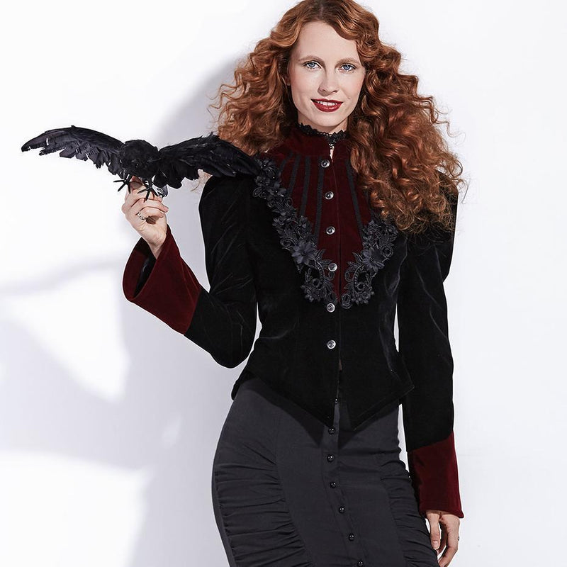 Cute Black Velvet Floral Coat - The Black Ravens