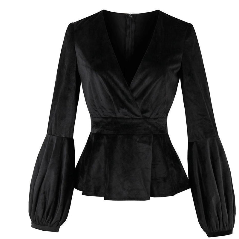 Cute Black Velvet V-Neck Jacket For Women - The Black Ravens