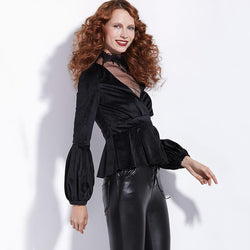 Cute Black Velvet V-Neck Jacket For Women-Black-S-