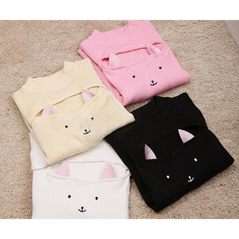 Cute Cat Ears Sexy Sweaters-Apricot-One Size-