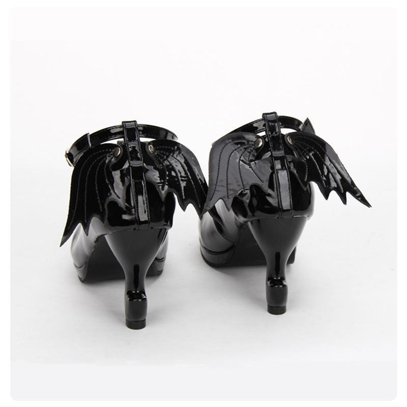 Cute Crucific Gothic High Heel Lolita Shoes-Black-5-