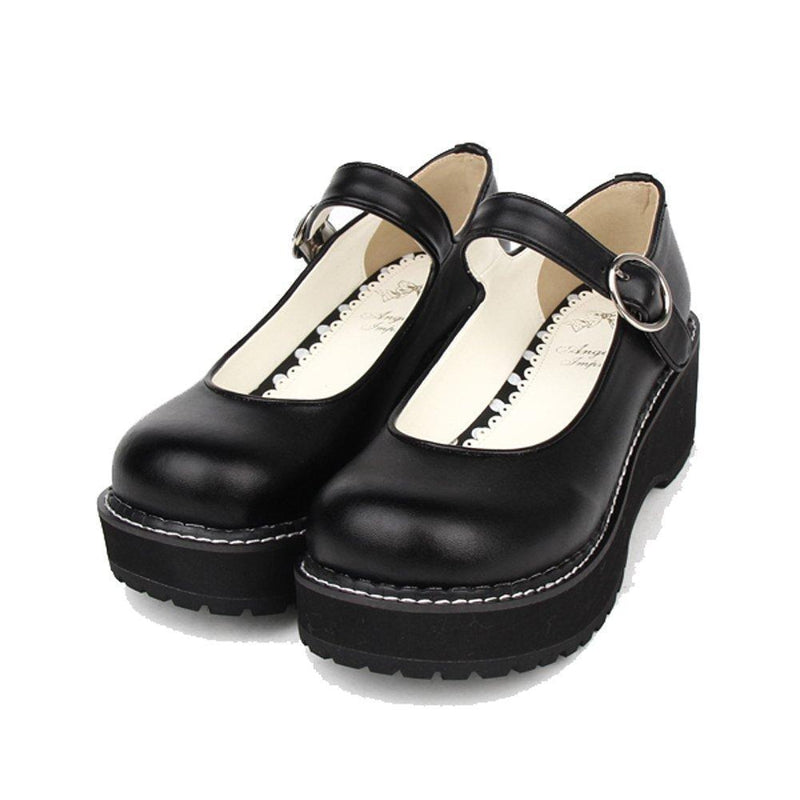 Cute Emo Simple Platform Lolita Wedge Shoes - The Black Ravens
