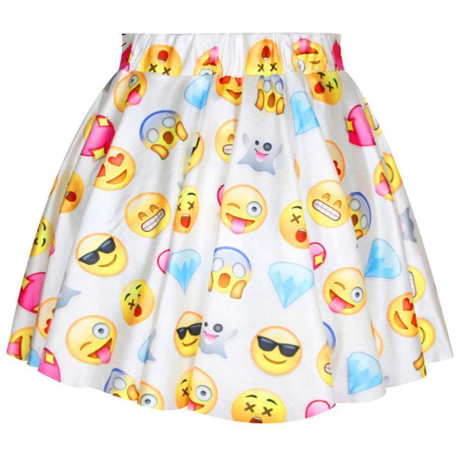 Cute Emoji Pastel Goth Mini Skirt - The Black Ravens