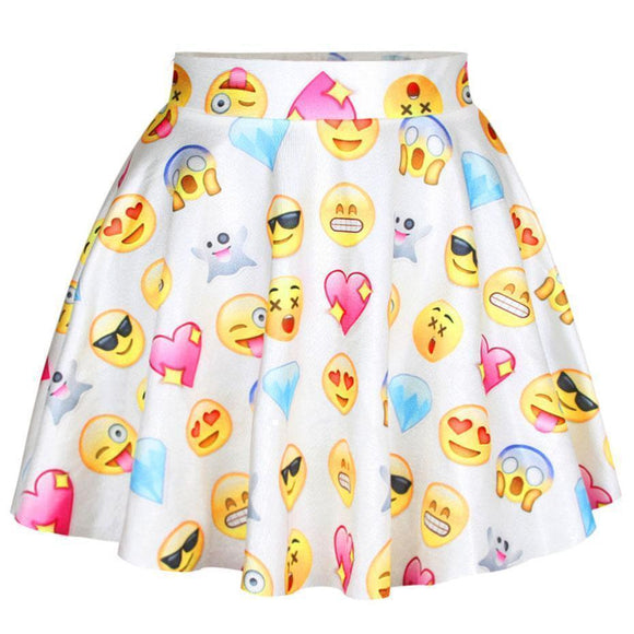 Cute Emoji Pastel Goth Mini Skirt-
