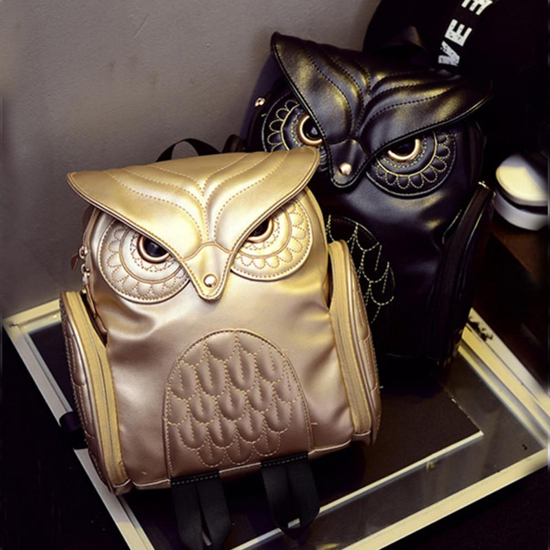 Cute Genuine Leather Owls Rucksack In Black & Gold-Black-